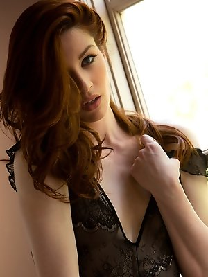 Stoya is simply irresistible in her black lingerie, it fits perfectly her pale skin and red hair. Here she strips and slowly reveal her perfect body i